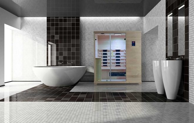 Transcend TR-3 Far Infrared Sauna in Bathroom