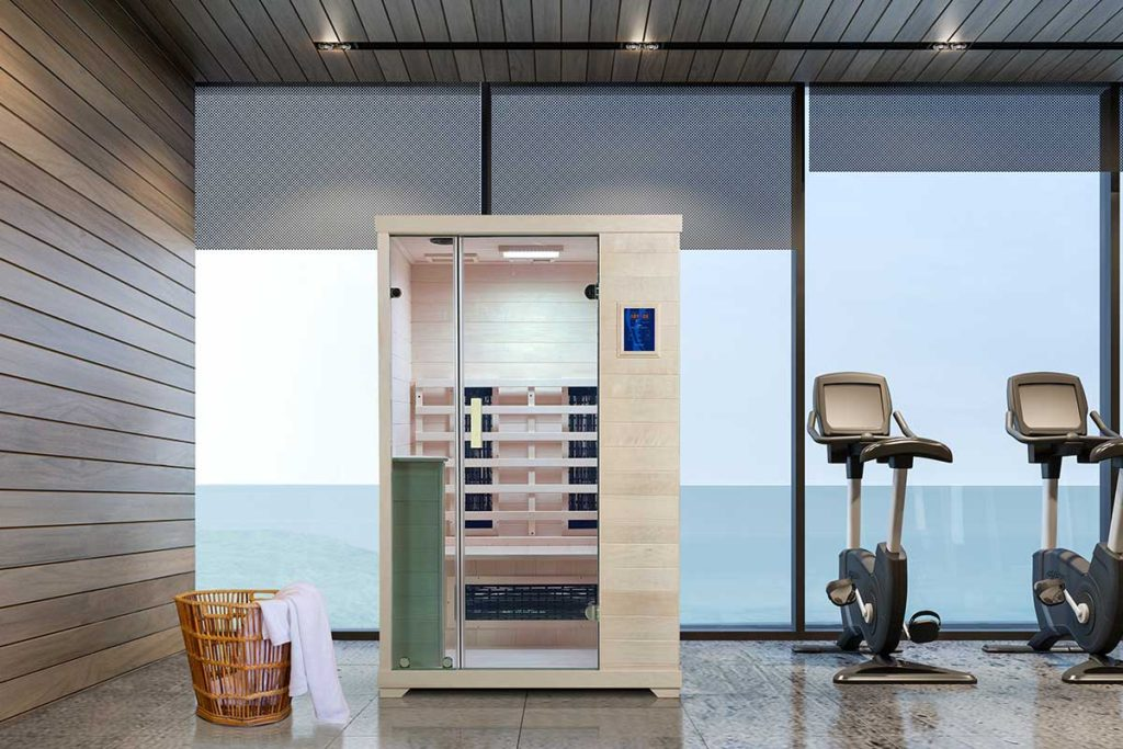 Transcend TR-2 Far Infrared Sauna in a gym