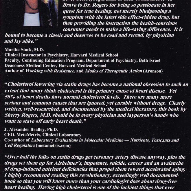 The Cholesterol Hoax by Sherry Rogers MD (back cover)
