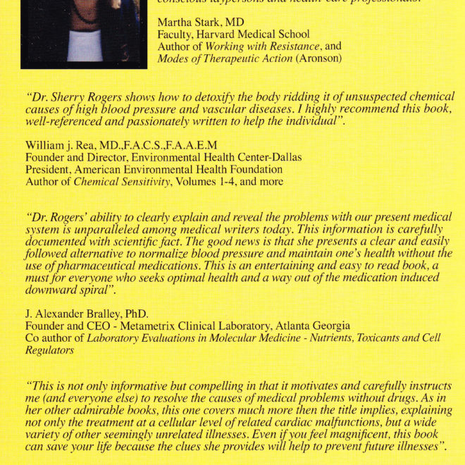 The High Blood Pressure Hoax! by Sherry Rogers MD (back cover)