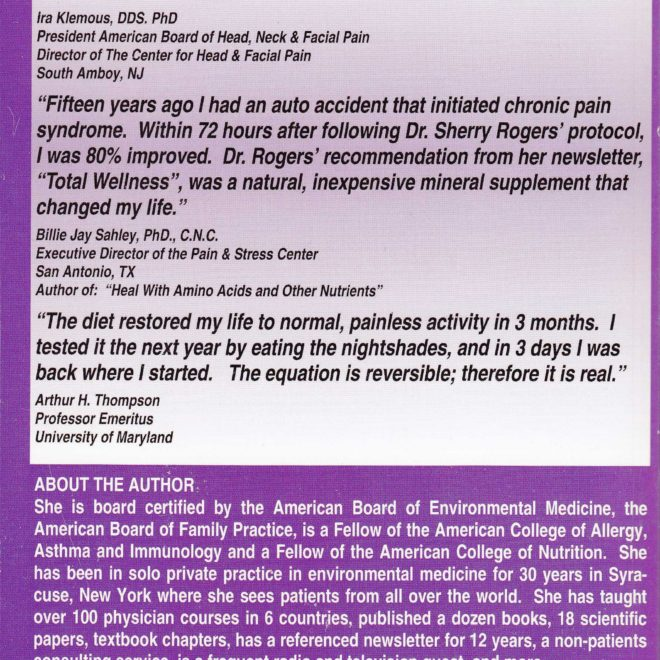 Pain Free in 6 Weeks by Sherry Rogers MD (back cover)