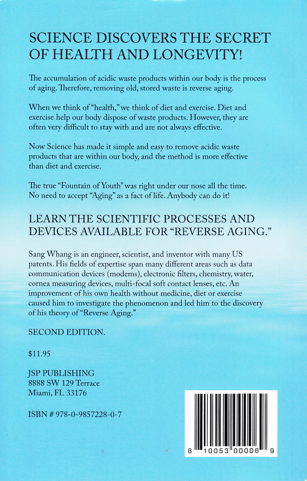 Reverse Aging by Sang Whang (back cover)