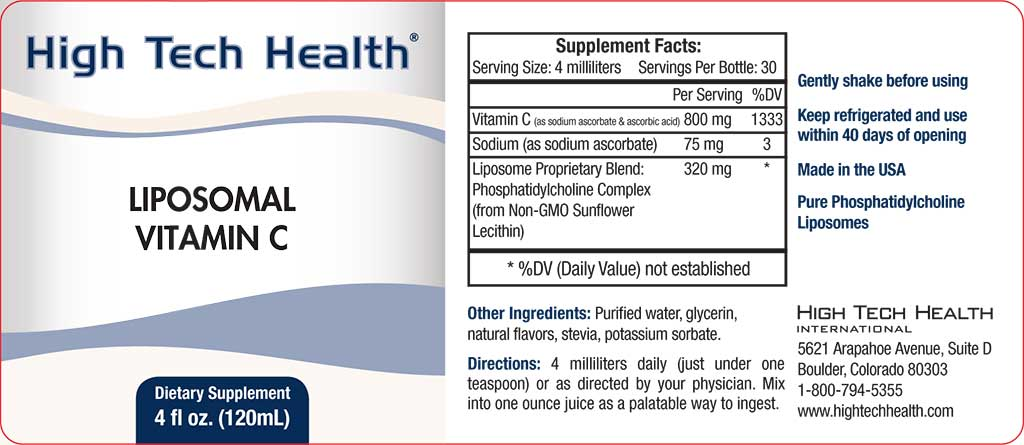 High Tech Health Liposomal Vitamin C label