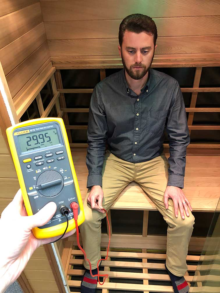 Body Voltage from a Typical Infrared Sauna