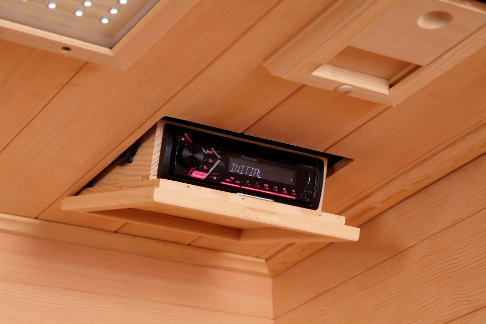 Pioneer Stereo in Transcend TR-2 sauna in Hemlock Wood